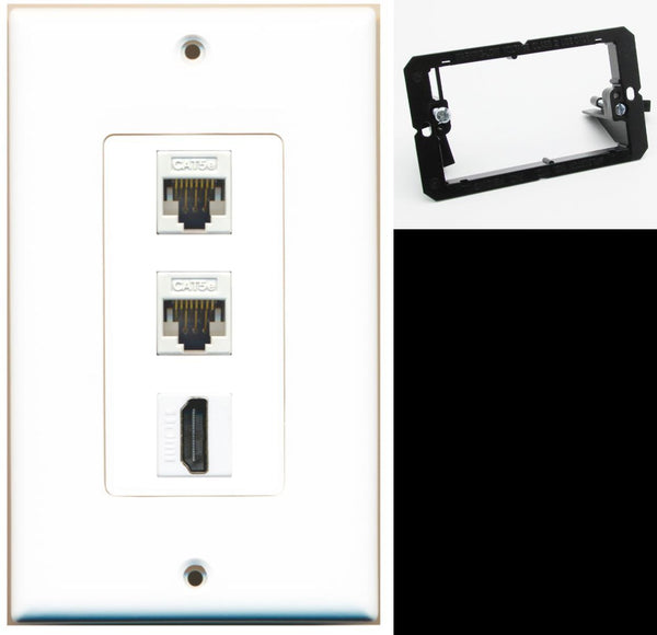 2 Port Cat5e Ethernet HDMI Wall Plate DecorZ White w/Mounting Bracket