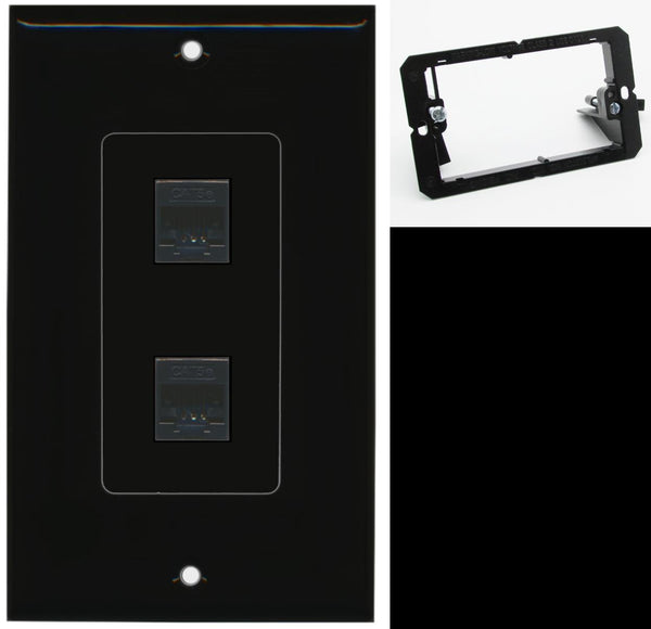 2 Port Cat5e Ethernet F-F Wall Plate DecorZ Black w/Mounting Bracket