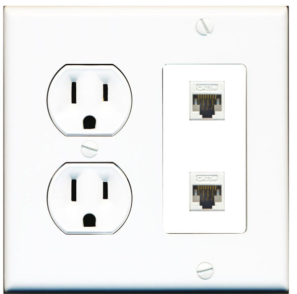 2 Port Cat5e Ethernet F-F Wall Plate w/Round Power Outlet