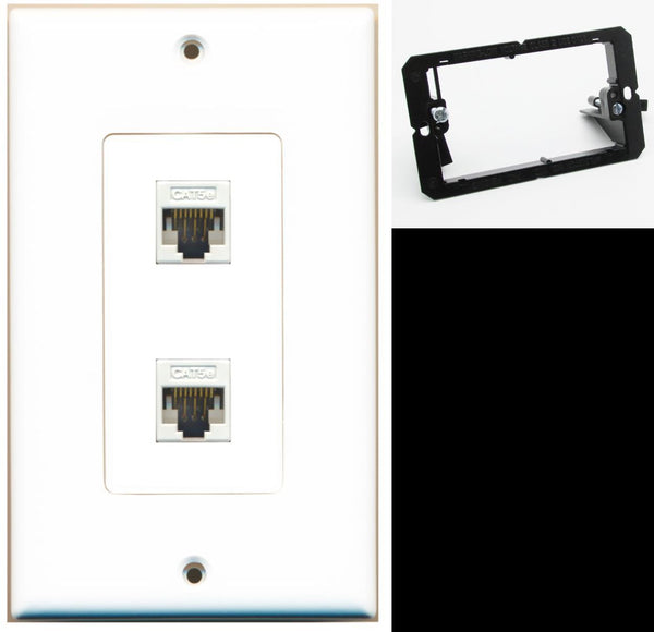 2 Port Cat5e Ethernet F-F Wall Plate DecorZ White w/Mounting Bracket