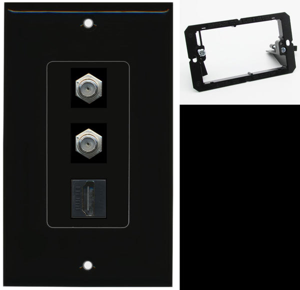 2 Port Coax Cable TV HDMI Wall Plate DecorZ Black w/Mounting Bracket