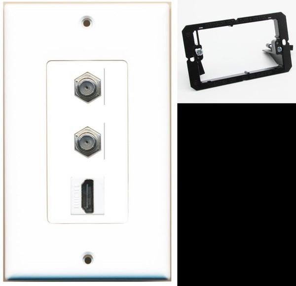 2 Port Coax Cable TV HDMI Wall Plate DecorZ White w/Mounting Bracket