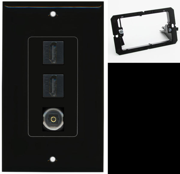 2 Port HDMI 1 Port Toslink Wall Plate DecorZ Black w/Mounting Bracket