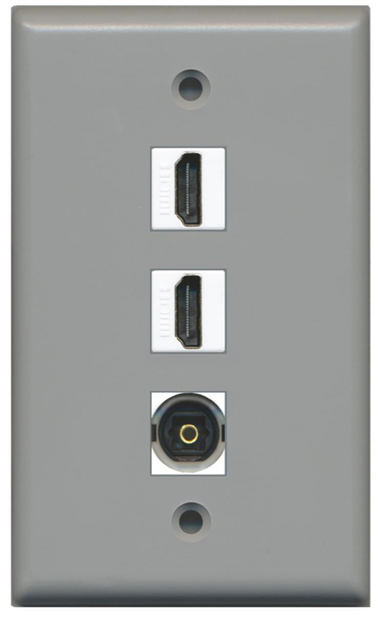2 Port HDMI 1 Port Toslink Wall Plate Gray w/White Jacks