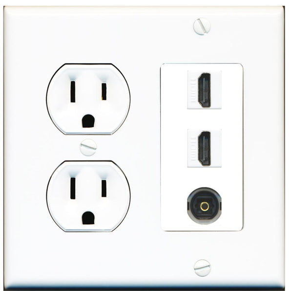 2 Port HDMI 1 Port Toslink Wall Plate w/Round Power Outlet