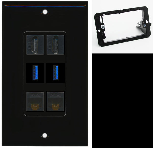 2 Port HDMI+2 USB 3 + 2 Cat6 Wall Plate DecorZ Black w/Mounting Bracket