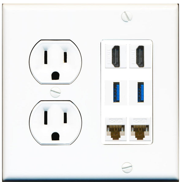 2 Port HDMI+2 USB 3 + 2 Cat6 Wall Plate w/Round Power Outlet