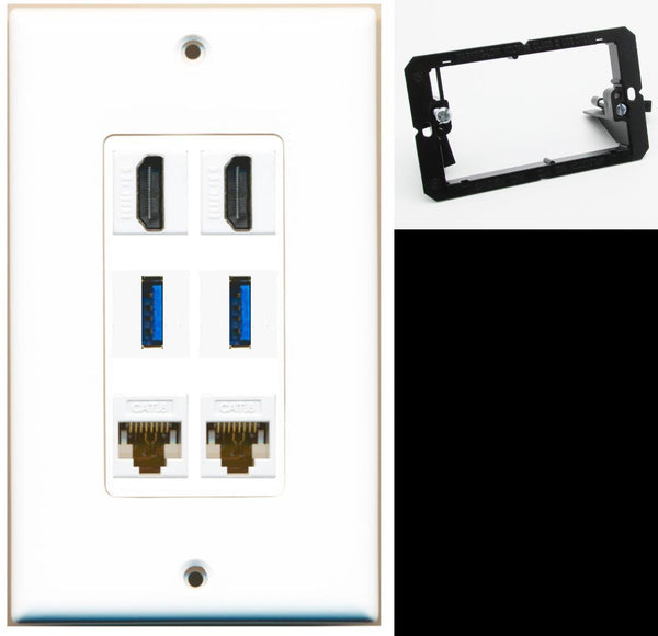 2 Port HDMI+2 USB 3 + 2 Cat6 Wall Plate DecorZ White w/Mounting Bracket
