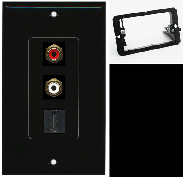 2 Port RCA Stereo HDMI F-F Wall Plate DecorZ Black w/Mounting Bracket