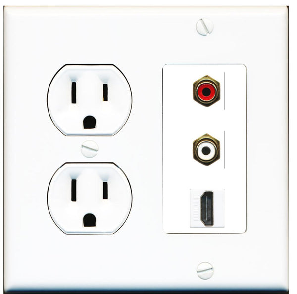 2 Port RCA Stereo HDMI F-F Wall Plate w/Round Power Outlet