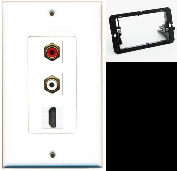 2 Port RCA Stereo HDMI F-F Wall Plate DecorZ White w/Mounting Bracket