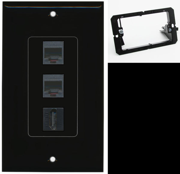 2 Port RJ11-12-Phone 1 HDMI Wall Plate DecorZ Black w/Mounting Bracket