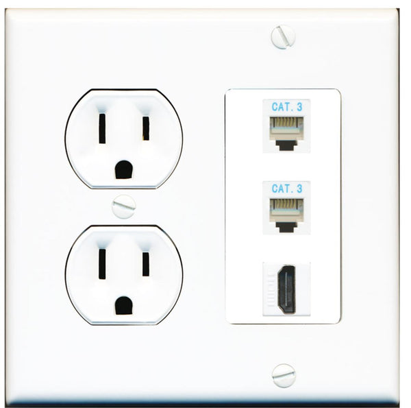 2 Port RJ11-12-Phone 1 HDMI Wall Plate w/Round Power Outlet