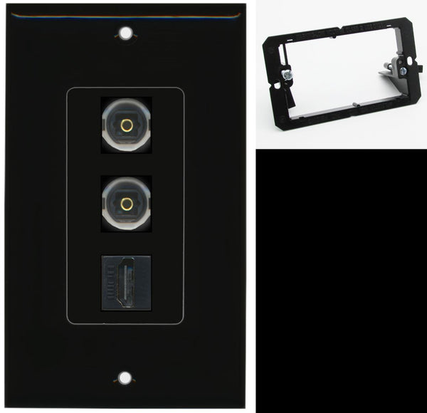 2 Port Toslink HDMI F-F Wall Plate DecorZ Black w/Mounting Bracket