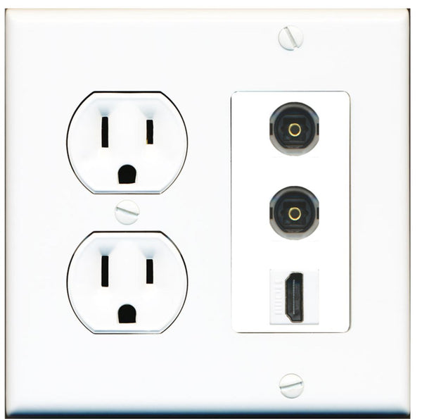 2 Port Toslink HDMI F-F Wall Plate w/Round Power Outlet