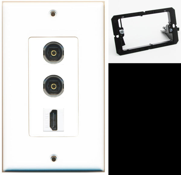 2 Port Toslink HDMI F-F Wall Plate DecorZ White w/Mounting Bracket