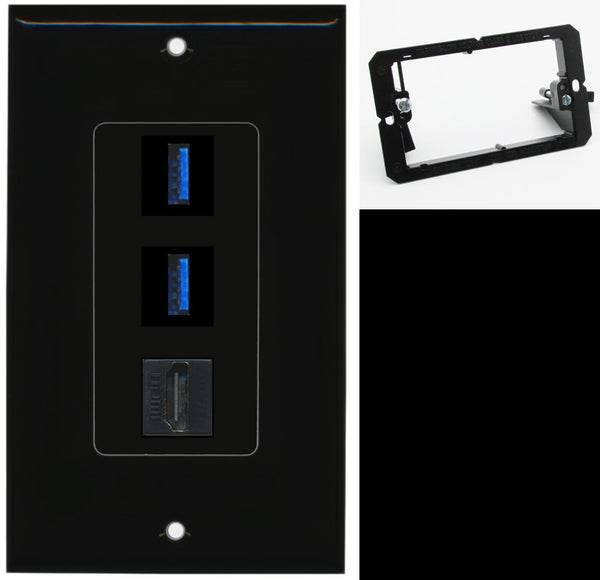 2 Port USB 3.0 A-A HDMI Wall Plate DecorZ Black w/Mounting Bracket