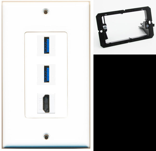 2 Port USB 3.0 A-A HDMI Wall Plate DecorZ White w/Mounting Bracket