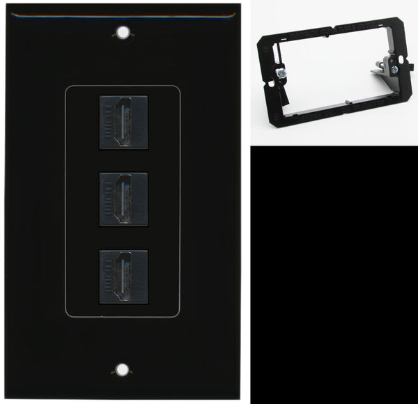 3 Port HDMI F/F Wall Plate DecorZ Black w/Mounting Bracket