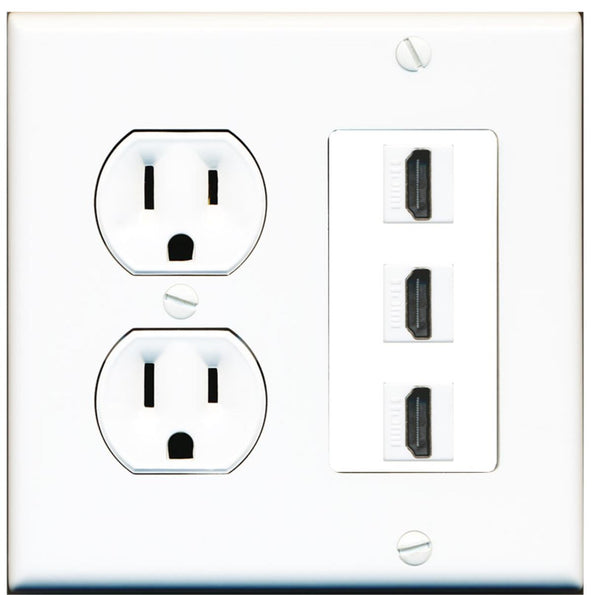 3 Port HDMI F/F Wall Plate w/Round Power Outlet