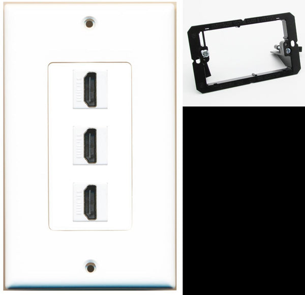3 Port HDMI F/F Wall Plate DecorZ White w/Mounting Bracket