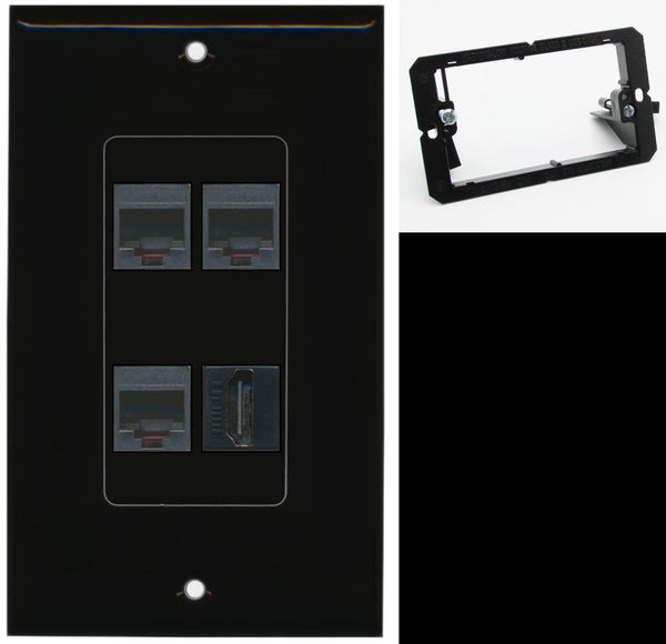 3 Port Phone RJ11-12 HDMI Wall Plate DecorZ Black w/Mounting Bracket