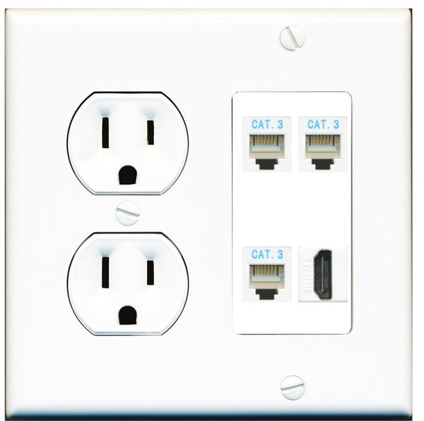 3 Port Phone RJ11-12 HDMI Wall Plate w/Round Power Outlet