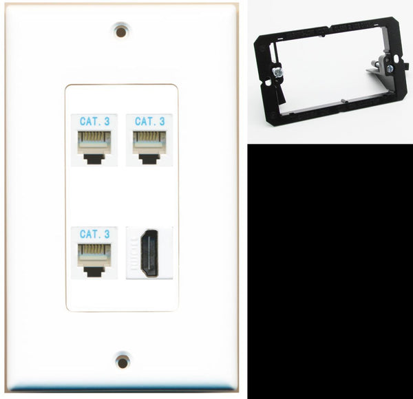 3 Port Phone RJ11-12 HDMI Wall Plate DecorZ White w/Mounting Bracket