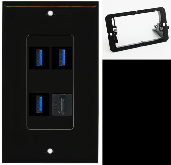 3 Port USB 3.0 A-A 1 HDMI Wall Plate DecorZ Black w/Mounting Bracket