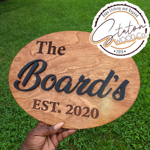 Custom Oval: Last Name Inlay and Year Established