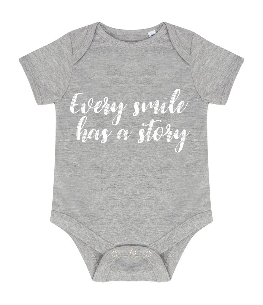 "Short Sleeve ""Every Smile Has A Story"" Baby Vest"
