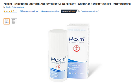 Maxim Antiperspirant for excessive perspiration and sweating