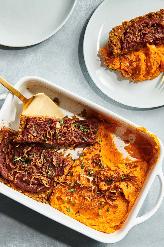 BBQ meatloaf and sweet potato mash