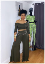 "Load image into Gallery viewer, ""UNBOTHERED"" Olive Wide Leg 2 Piece Set"