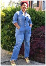 "Load image into Gallery viewer, ""HOT SHOT"" Curvy Distressed Denim Jumpsuit"