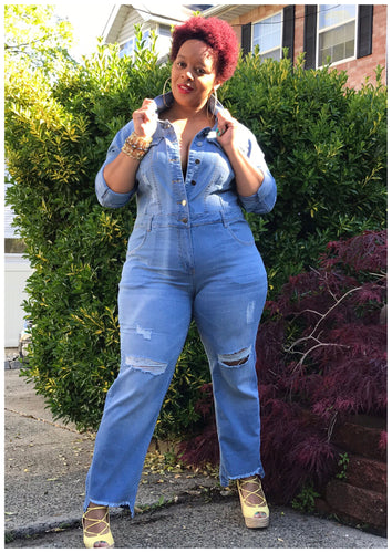 Curvy Distressed Denim Jumpsuit