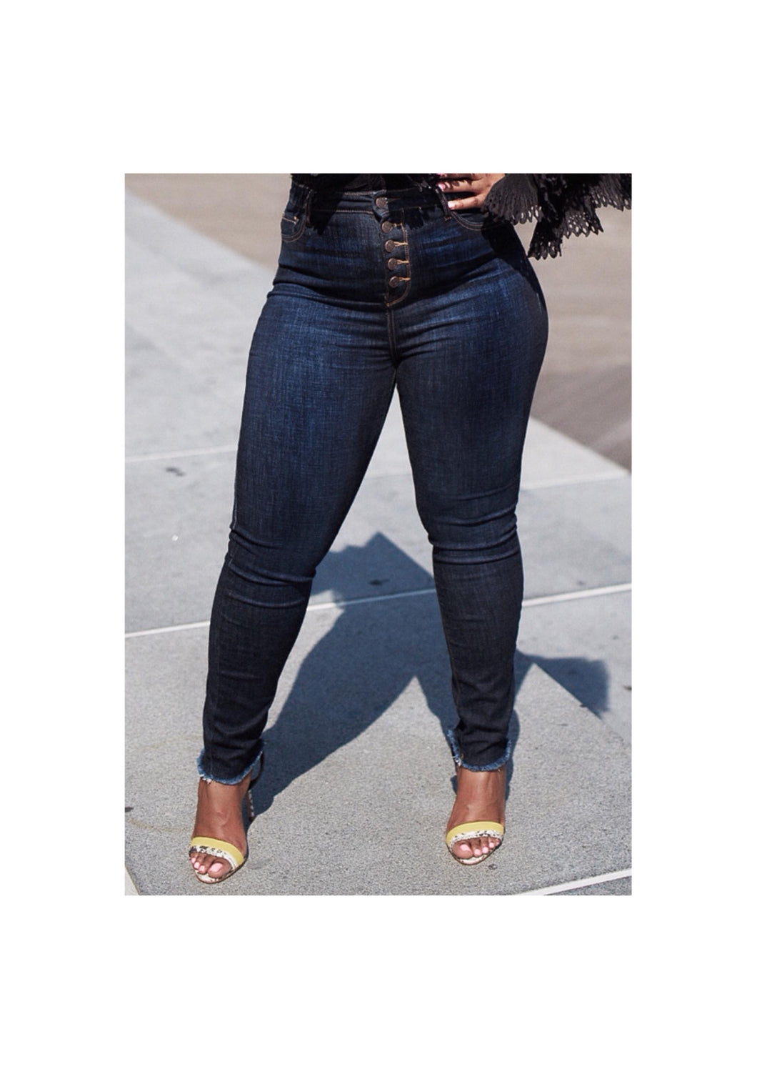 High Waist Button Fly Jeans