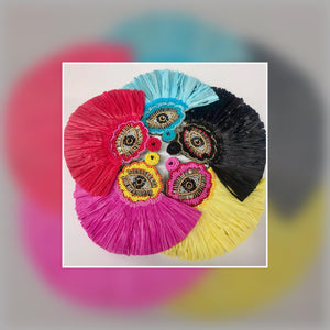 """FAN CLUB"" Bright Color Embroidered Earrings"