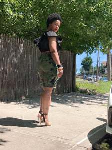 """GIRL GANG"" Camouflage Cargo Shorts"