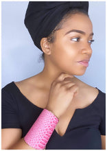 Load image into Gallery viewer, PINK & GOLD SNAKESKIN CUFF BRACELET