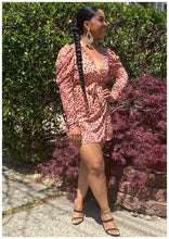 "Load image into Gallery viewer, ""CHEETAH GIRL"" Coral Wrap Dress"