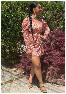 """CHEETAH GIRL"" Coral Wrap Dress"