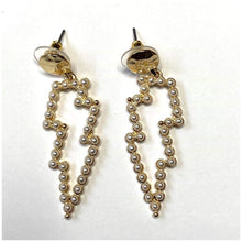 Load image into Gallery viewer, PEARL & GOLD MINI BOLT EARRINGS