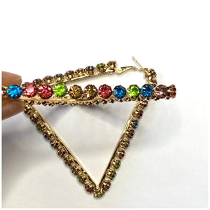 MULTICOLORED RHINESTONES & GOLD TRIANGLE EARRINGS