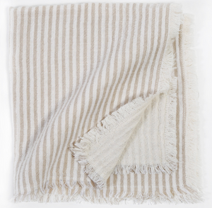 Natural Stripe Linen Napkins - Set of Four