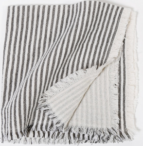 Charcoal Stripe Linen Napkins - Set of Four