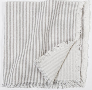 Grey Stripe Linen Napkins - Set of Four