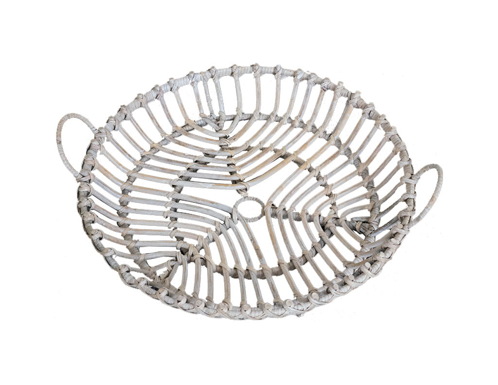 Woven White Washed Tray
