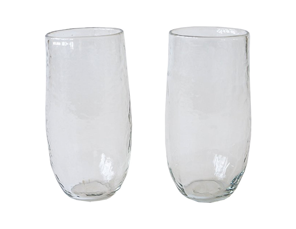 Large Hand Blown Water Glasses - Set of Two