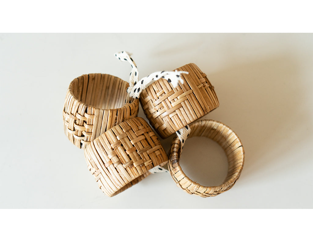 Organic Woven Napkin Rings - Set of Four